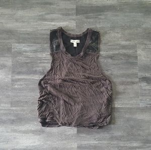 Grey Black Leather Detailed S+N Cropped Racerback